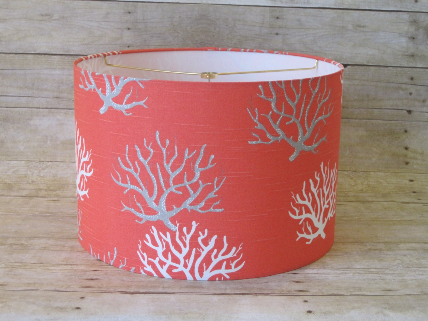 lamp shade drum lampshade coral gray grey and by sweetdreamshades. Black Bedroom Furniture Sets. Home Design Ideas
