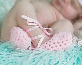 Newborn baby girl crochet ballet slippers, booties, pink, photo prop, baby shower gift, shoes