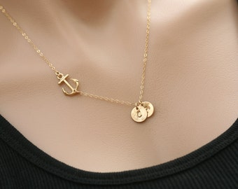 24k gold vermail Gold Anchor Necklace,sideways Anchor,Personalized initial anchor,Sailors Anchor,Wedding Jewelry,Bridesmaid gift,mother gift