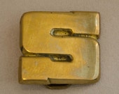 "Vintage ""S"" Initial Solid Brass Belt Buckle"