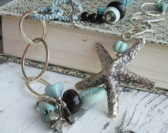 Tide Pool necklace- Hill Tribe sterling silver starfish. light aqua sari silk. lampwork beads. wood bead. boho beach. Jettabugjewelry