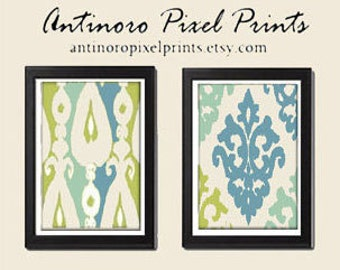 Personalized Blue Green Tan Cream Wall Art Vintage / Modern Inspired -Set of 2 - 8x10 Prints -  (UNFRAMED)