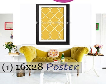Giclee Poster Wall Art Citron Yellow Navy White Wall Art Ikat Inspired Wall Art Prints Collection (1) -18x24 Poster - (UNFRAMED)