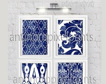 Watercolor Ikat Damask Indigo Navy Prints, Set of (4) Wall Art Prints, Custom Colors Sizes Available (Unframed)