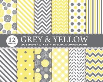 70% OFF SALE 12 Grey & Yellow Digital Scrapbook Paper, digital paper patterns for card making, invitations, scrapbooking