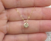 14k Solid gold disc pendant necklace, Hammered circle necklace, 14k gold necklace-Lowest price on Etsy