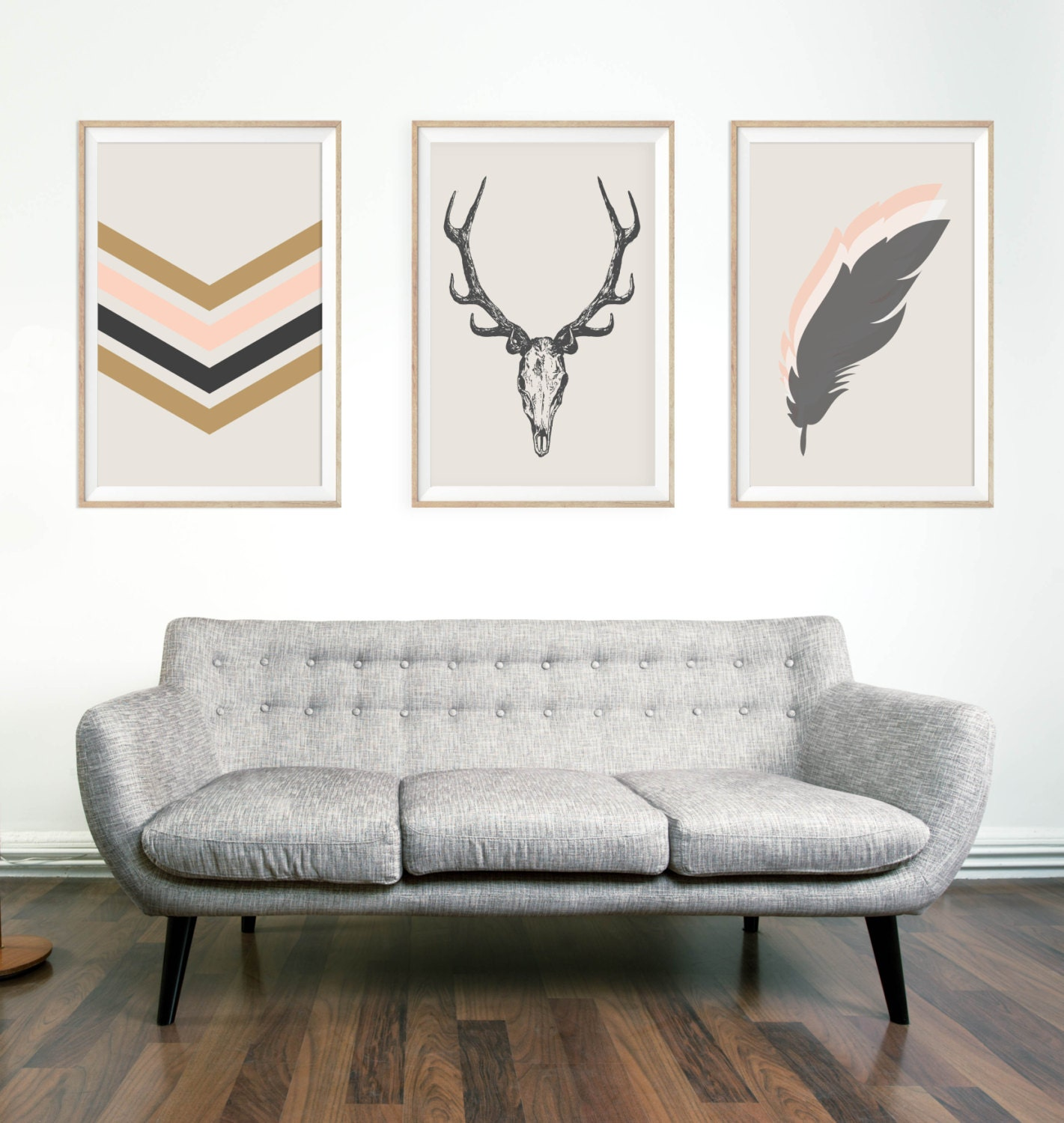 southwestern chic minimalist wall art print deer by