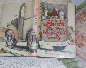 Hilda The Hen Who Wouldn't Give Up By Jill Tomlinson  1980, Children's Book, Vintage Book, Old Book , Chapter Book, Reading  :)s