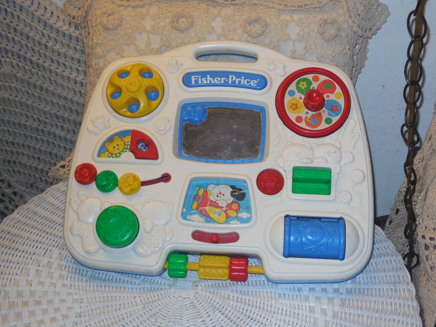 Fisher Price Busy Box 1993 For Crib Or To Carry And Play