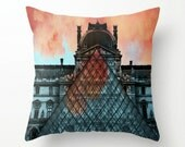 Paris Louvre with Clouds on Fire - Throw Pillow Cover w/ Dusty Blue Tassel - Blue, Orange, Black and White