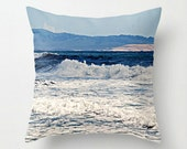 "Foamy California Waves Crash Against A Blue Sky - 18"" Throw Pillow Cover with Large Blue Tassel - Sand, Ocean, Waves - California Living"