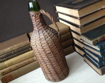Antique French Demijohn Hand Wrapped Wicker Green Glass Wine Bottle