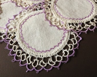 Vtg Delicate Linen & Tatting Lace Purple Cocktail Napkins // Set of 6 // Small Doilies