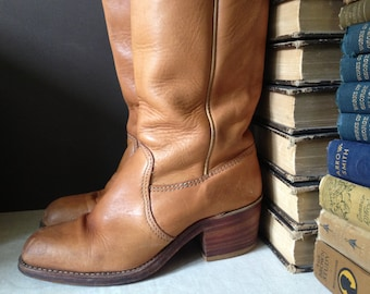 Brown Leather Boots, Stacked Heel, Knee High Campus Boots Size 7 8 US