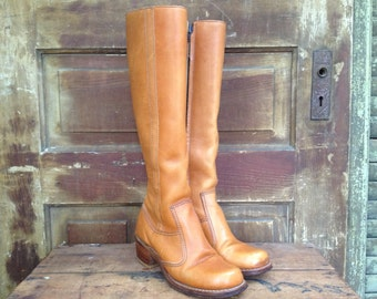 Womens Brown Leather Boots, Knee High, 1960s 70s Cognac Campus Boots Size 6,5 US
