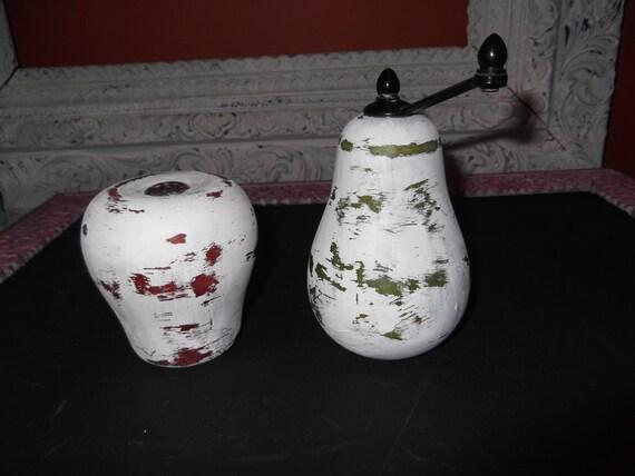Vintage Wooden Salt And Pepper Shakers Distressed Apple Salt