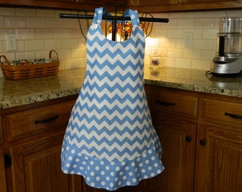 Blue Chevron and Polka Dots Apron