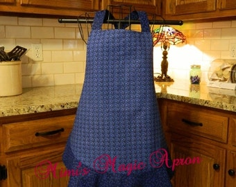 Ladies Full Apron, Blue Apron, Woman's full Apron / Retro Style / Full Designer Kitchen Apron / Vintage Apron