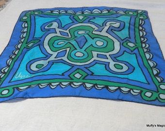 Vintage Vera Silk Turquoise and Green Abstract Design
