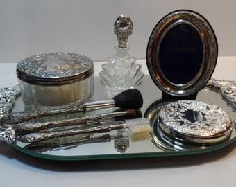 Vintage Vanity Tray Glass Powder Jar Mirrors Makeup