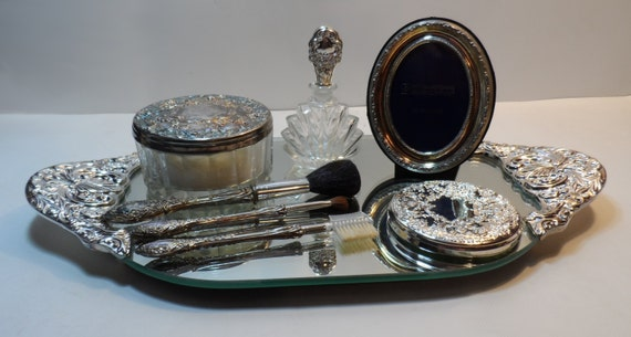 Vintage Vanity Tray Glass Powder Jar Mirrors Makeup