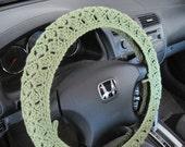 Crochet Steering Wheel Cover, Wheel Cozy - tea leaf (CSWC 2CCC)