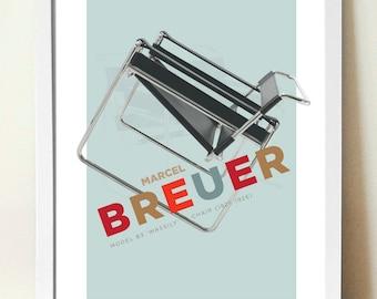 Wall Art, Home Décor, Marcel Breuer Wassily Chair, Mid Century Modern, Art print, A3 giclée print