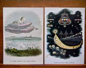 2 x Art Postcards, 1980s - 2 x Vintage Gerard Grandville Illustration Postcards, French Artist, Australian Gallery Cards