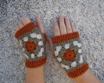 Crochet Fingerless Gloves-Mittens Arm Warmers Brick-Beige-Olive Granny Square
