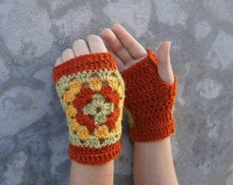 Crochet Fingerless Gloves-Mittens Arm Warmers Red Green Yellow Granny Square
