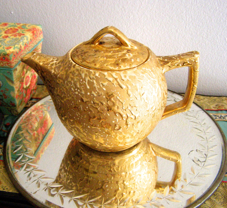 Vintage Decorative Tea Pot 24k Weeping Gold 24 Karat Gold