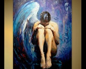 Painting Nude Woman Oil Painting Angel Large Canvas Painting Angel Painting Blue Bedroom Painting Palette Knife Painting By Elizabeth Lisa