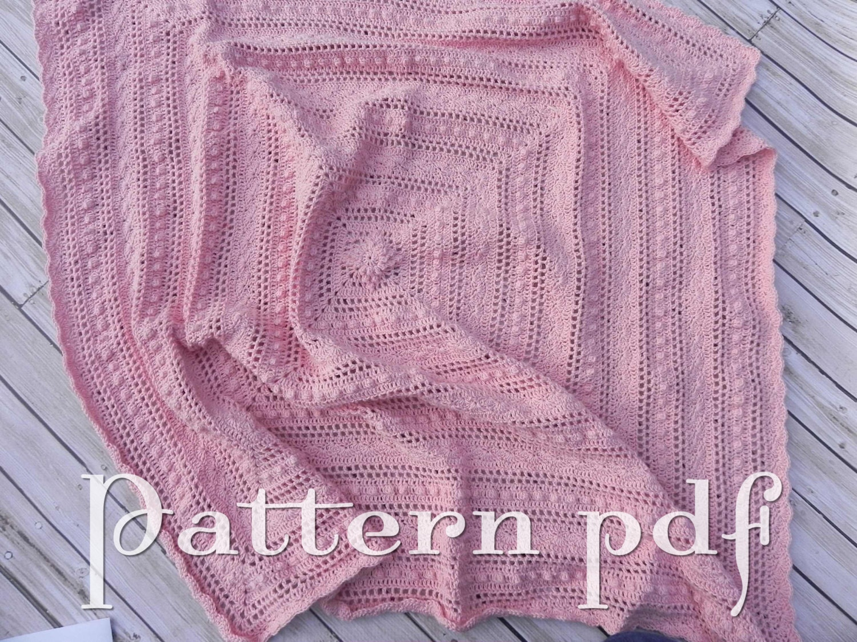 Crochet Baby Blanket Lace Pattern : PDF Pattern Crocheted Lace Baby Blanket Pattern