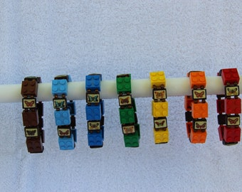 Lego Stretch Bracelet with Wooden Butterfly Tiles
