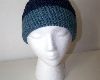 Crocheted Hat - Unisex Adult - Blue - semi slouchy
