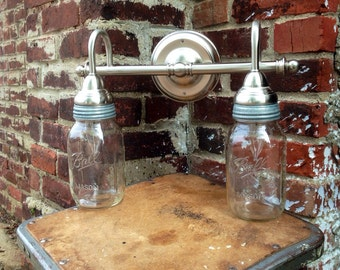 Double light, Mason Jar Sconce for bath