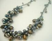 Dark grey freshwater pearl,crystal on silk thread necklace