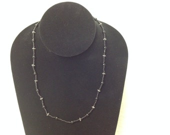 Vintage Black and Silver Beaded Necklace