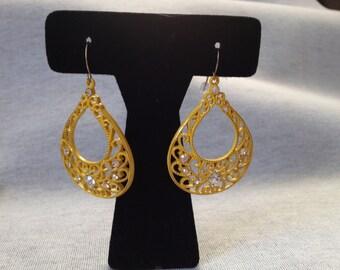 Vintage Costume Yellow Metal Earrings with Rhinestones