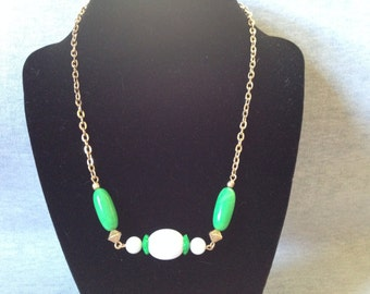 Vintage Costume AVON Goldtoned Necklace with Green and White Plastic Beads