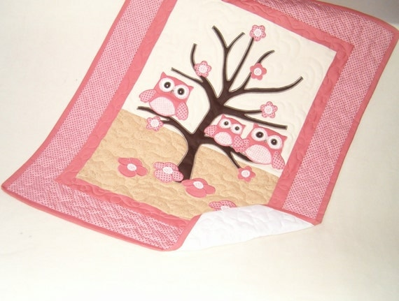 Owl Quilt,  Baby  Gift Ideas, Crib Bedding  Gift Guide, Organic Baby Blanket