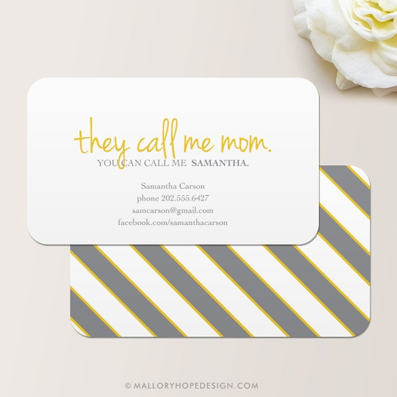 They call me mom business card calling card mommy card for Mommy business cards
