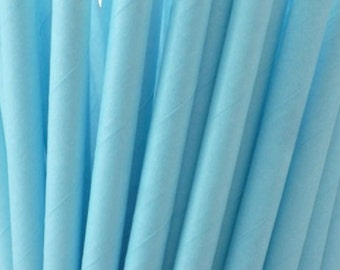 Solid Light Blue Paper Straws