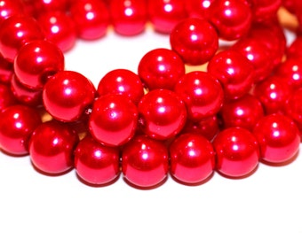 80pcs Loose Beads Hot Pink-10mm-Basketball wives inspired bracelet beads - Glass beads -Necklace Beads