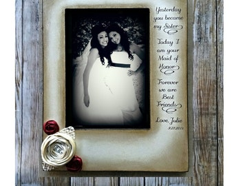 Vintage Rustic Bridesmaid Maid of Honor 5x7 hand stained Picture Frame Keepsake flowers Wedding Party From the Bride Gift