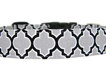 Grey Lattice Dog Collar, Pet Collar: Smoke Lattice
