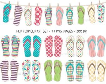 Flip Flop Clip Art Set - colorful summer printable digital clipart - instant download