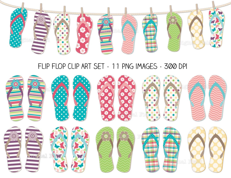 Flip Flop Clip Art Set colorful summer printable digital