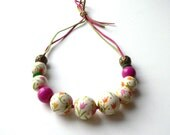 OOAK wooden statement necklace, floral jewelry, big bead necklace, christmas gift for her
