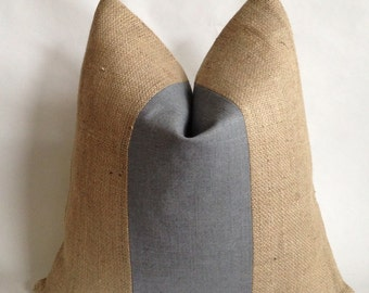 Charcoal Gray Linen/Cotton Fabric and Natural Burlap Pillow Cover